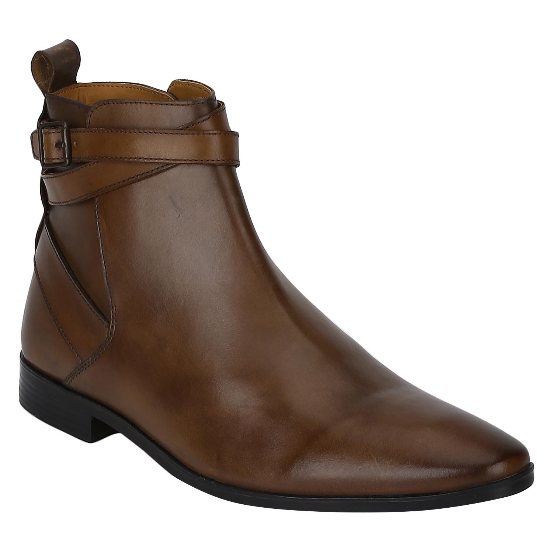 DEL MONDO | Del Mondo Genuine Leather TAN Colour Buckle Boots for Mens