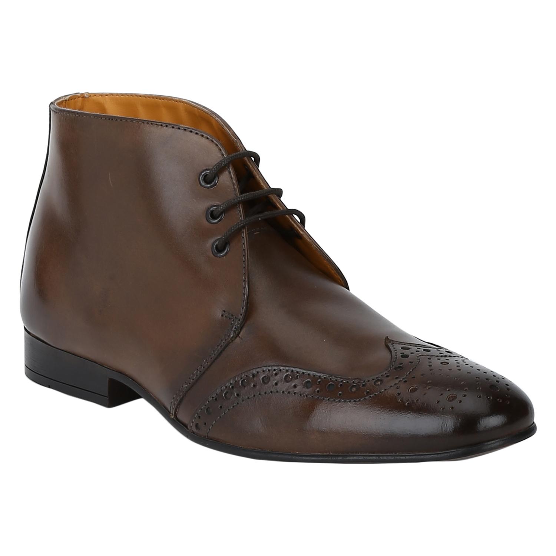 DEL MONDO   Del Mondo Genuine Leather NATURAL BROWN Colour Chukka lace up Boots for Mens