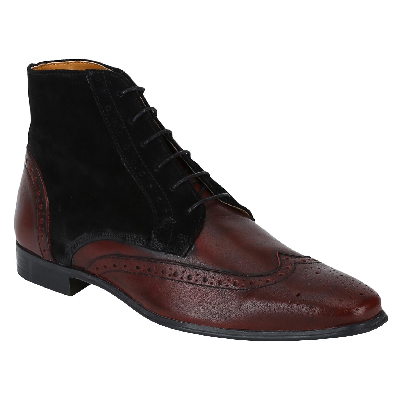 DEL MONDO   Del Mondo Genuine Leather BORDO / BLACK Colour lace up Boots for Mens