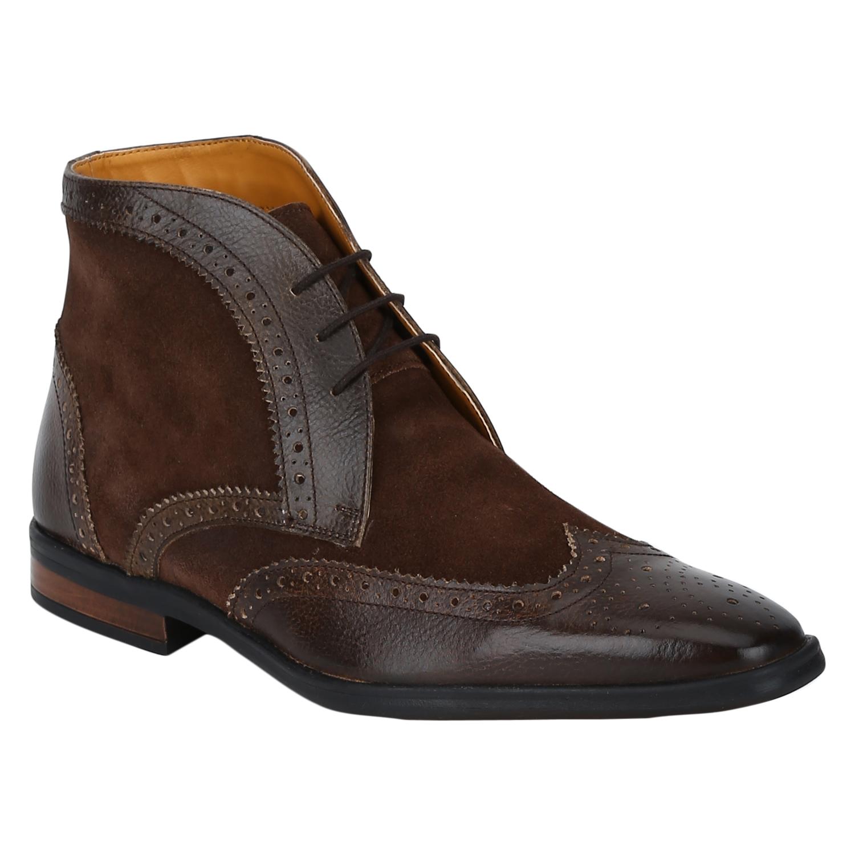 DEL MONDO   Del Mondo Genuine Leather NATURAL BROWN / RED BROWN Colour lace up Boots for Mens