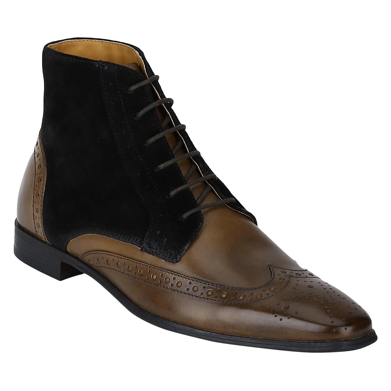 DEL MONDO   Del Mondo Genuine Leather TAN / BLACK Colour lace up Boots for Mens
