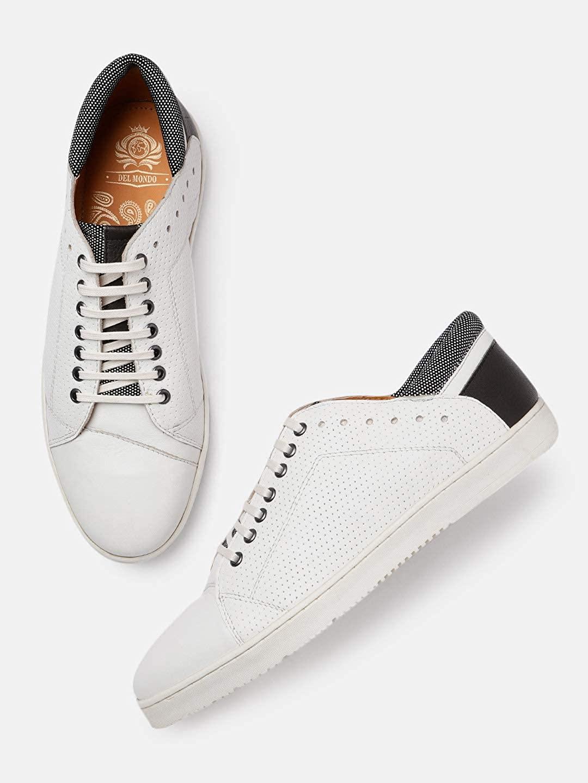 DEL MONDO | Del Mondo Genuine Leather White / Grey / Black Colour Casuals Sneaker Laceup Shoe for Mens