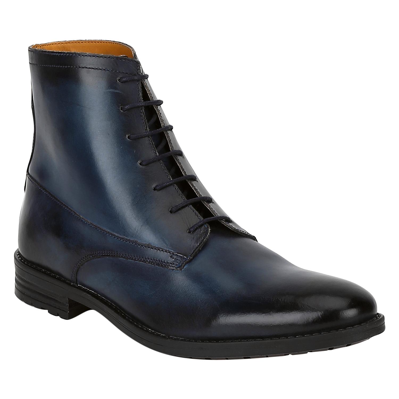 DEL MONDO   Del Mondo Genuine Leather NAVY Colour lace up Boots for Mens