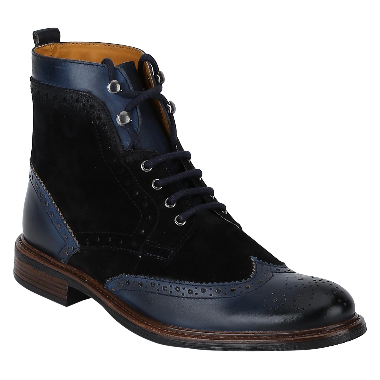 DEL MONDO   Del Mondo Genuine Leather NAVY / SUEDE BLACK Colour Oxford lace up Boots for Mens