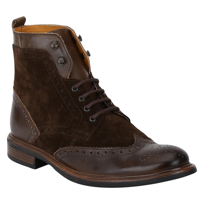 DEL MONDO   Del Mondo Genuine Leather NATURAL MID BROWN / SUEDE BROWN Colour Oxford lace up Boots for Mens