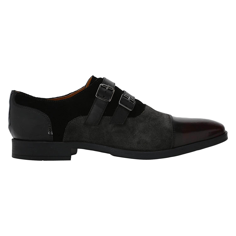 DEL MONDO | Del Mondo Genuine Leather BORDO / SHARK / BLACK Colour Double Monk Buckle Shoe for Mens