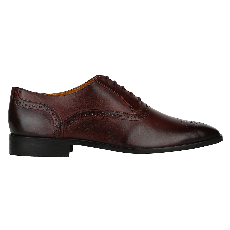 DEL MONDO   Del Mondo Genuine Leather CHERRY BORDO Colour lace up BROGUE Shoe for Mens