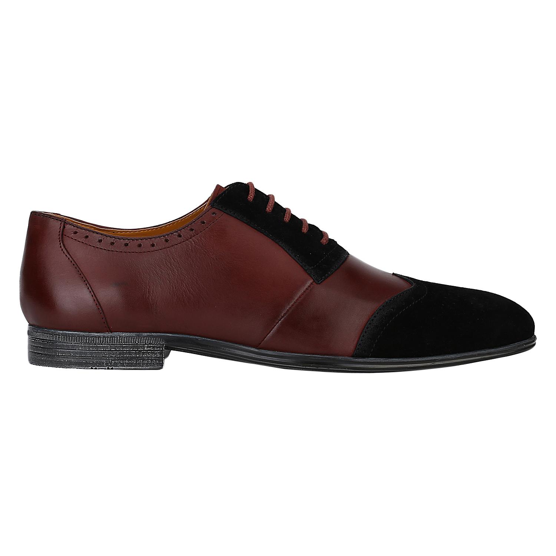 DEL MONDO | Del Mondo Genuine Leather Cherry Bordo / Black Colour Oxford Lace up Shoe for Mens