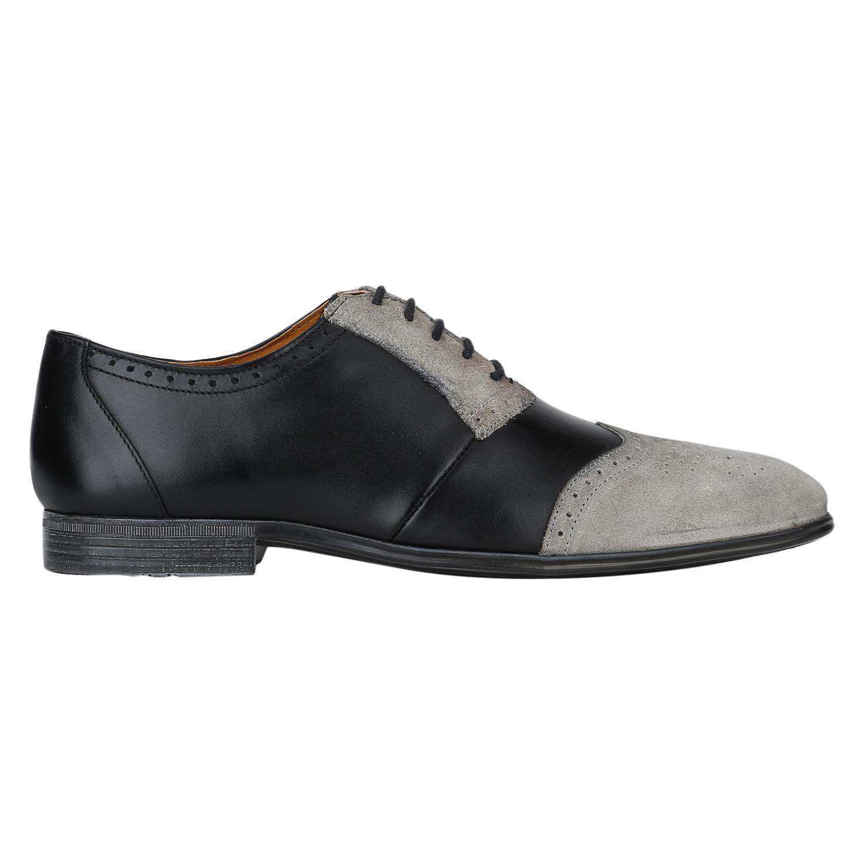 DEL MONDO | Del Mondo Genuine Leather Black / Ice Grey Colour Oxford Lace up Shoe for Mens