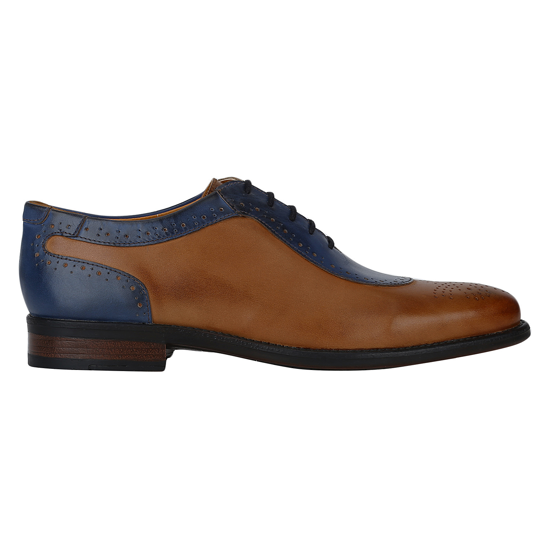DEL MONDO | Del Mondo Genuine Leather COGNAC / ROYAL BLUE Colour Casual Lace up Shoe for Mens