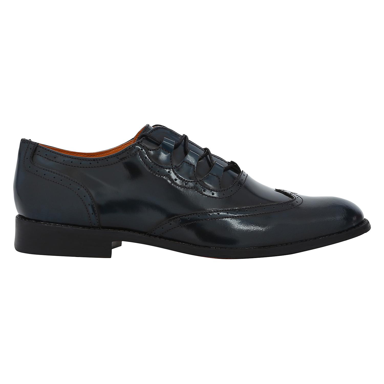 DEL MONDO   Del Mondo Genuine Patent Leather CHINA BLUE Colour lace up brogue Shoe for Mens