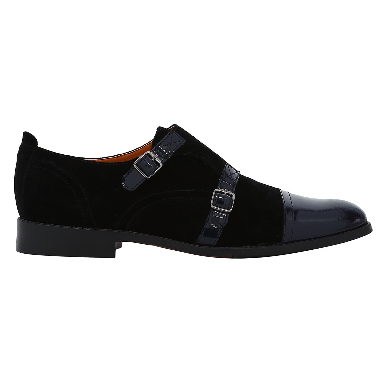 DEL MONDO | Del Mondo Genuine Leather Black / Blue Colour Casuals Buckle Shoe for Mens