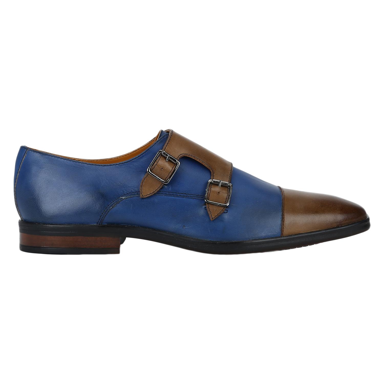DEL MONDO   Del Mondo Genuine Leather ROYAL BLUE / TAN Colour double monk buckle Shoe for Mens