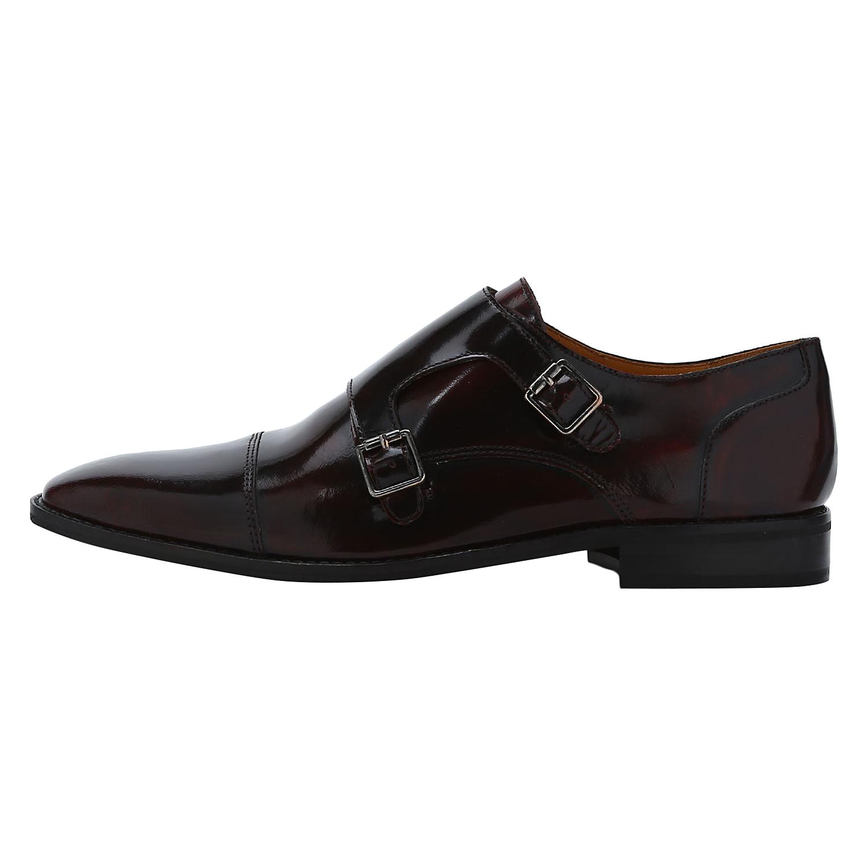 DEL MONDO | Del Mondo Genuine Patent Leather BORDO Colour double monk buckle Shoe for Mens