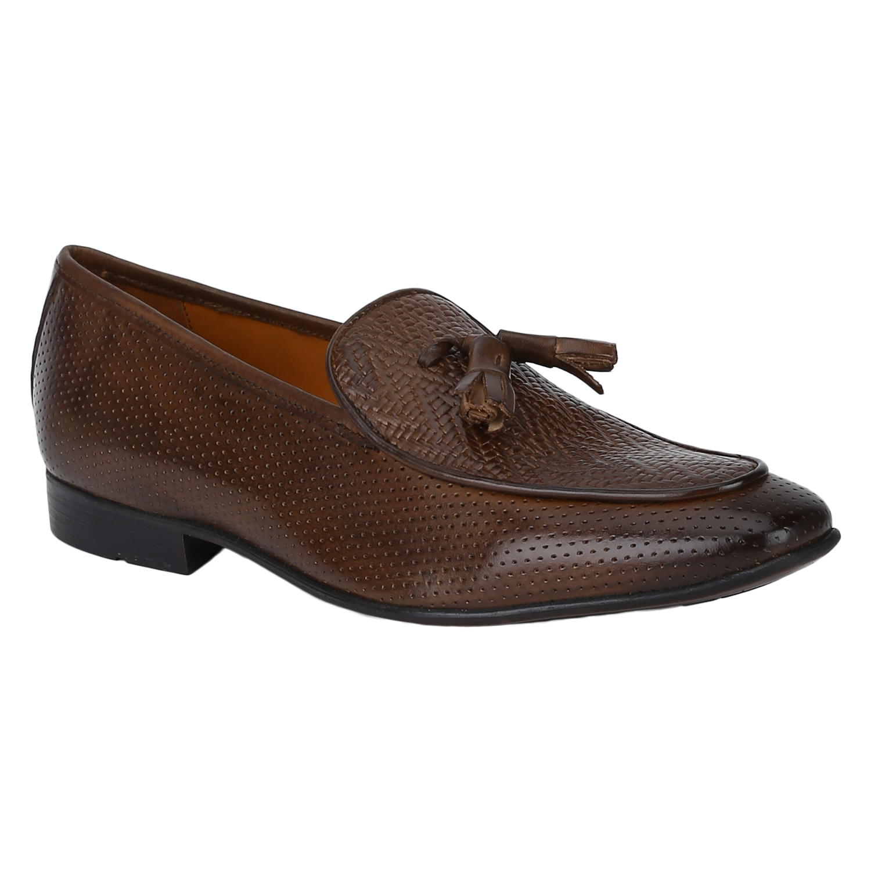 DEL MONDO | Del Mondo Genuine Leather Brown Colour Tazzle Slipon Loafer Shoe for Mens
