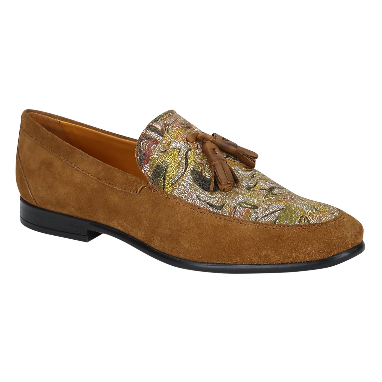 DEL MONDO | Del Mondo Genuine Leather Tan Colour Flower Printed Tazzle Slipon Loafer Shoe for Mens
