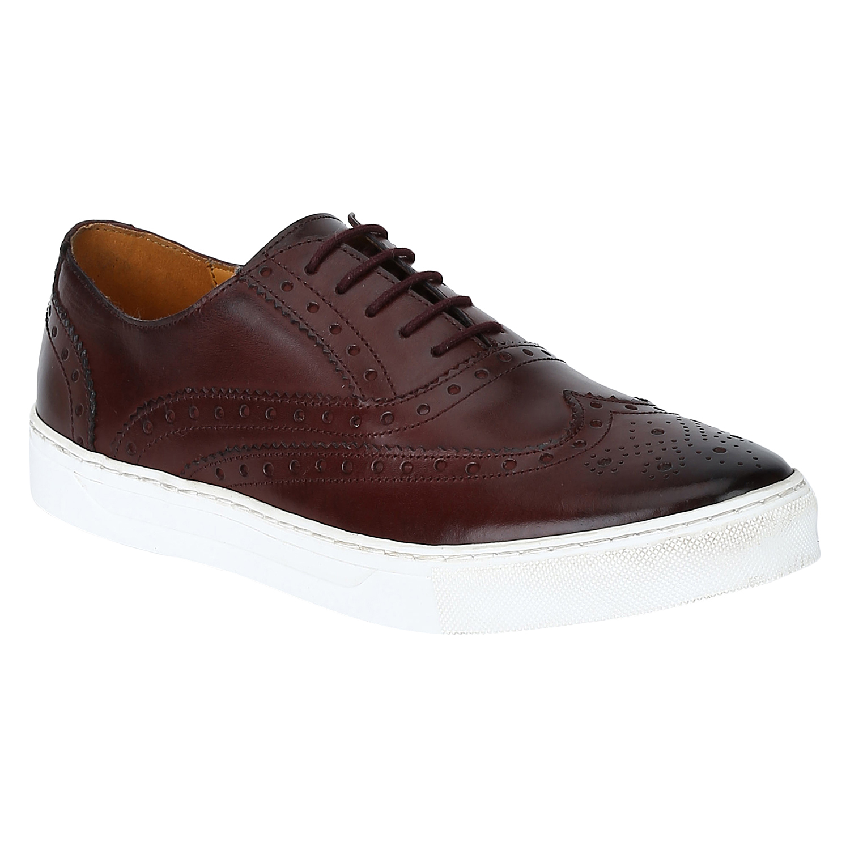 DEL MONDO | Del Mondo Genuine Leather Cherry Bordo Colour Casuals Sneaker Laceup Brogue Shoe for Mens