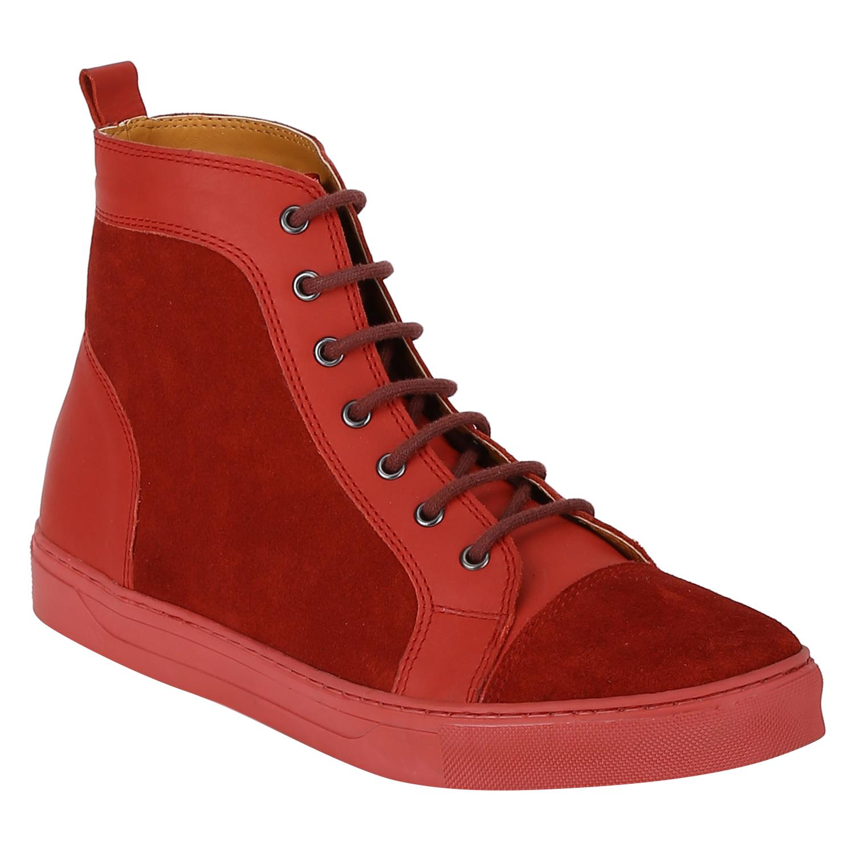 DEL MONDO   Del Mondo Genuine Leather RED / RED SUEDE Colour Casuals Sneaker Lace up Boots for Mens