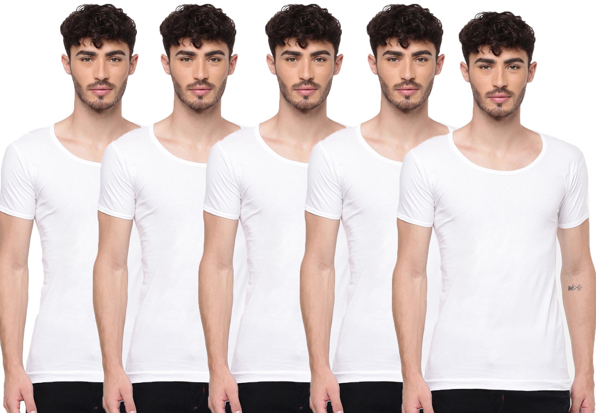 Ramraj Cotton | Ramraj Cotton Mens 100% Cotton Knitted White Vests (Combo 5)