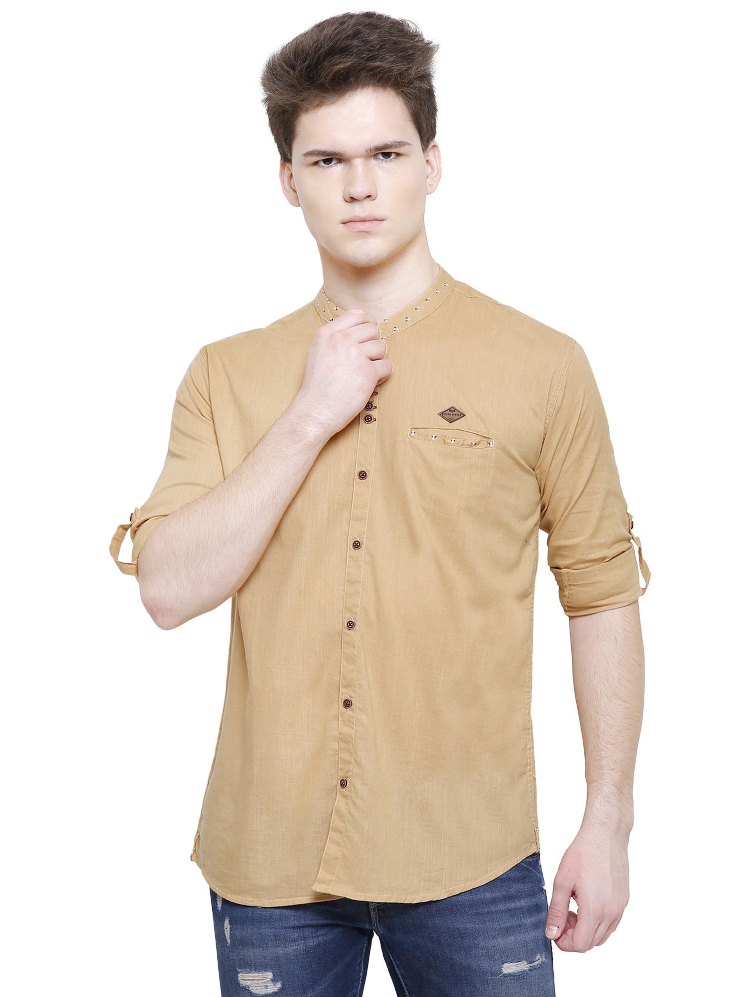 Kuons Avenue | Kuons Avenue Men's Beige Khaki Linen Cotton Shirt- KACLFS1280BE