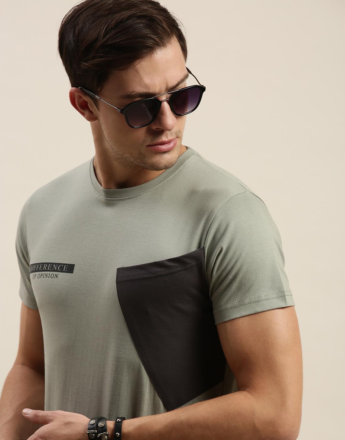 Difference of Opinion   Difference of Opinion Grey Colour-block T-Shirt
