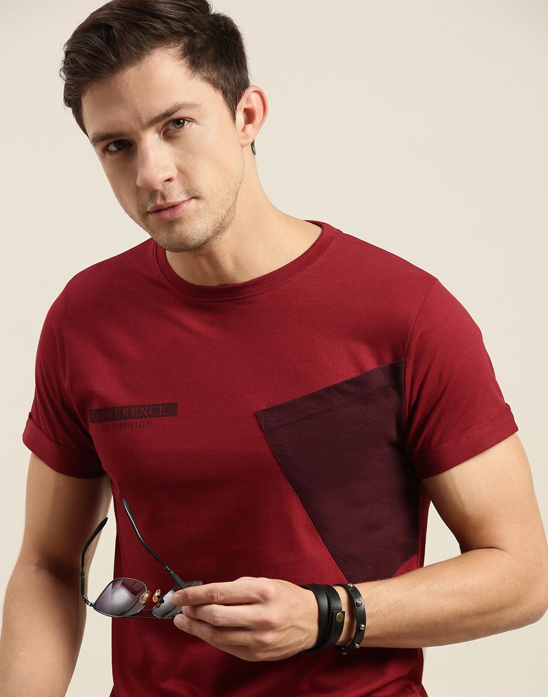 Difference of Opinion   Difference of Opinion Maroon Colour-block T-Shirt