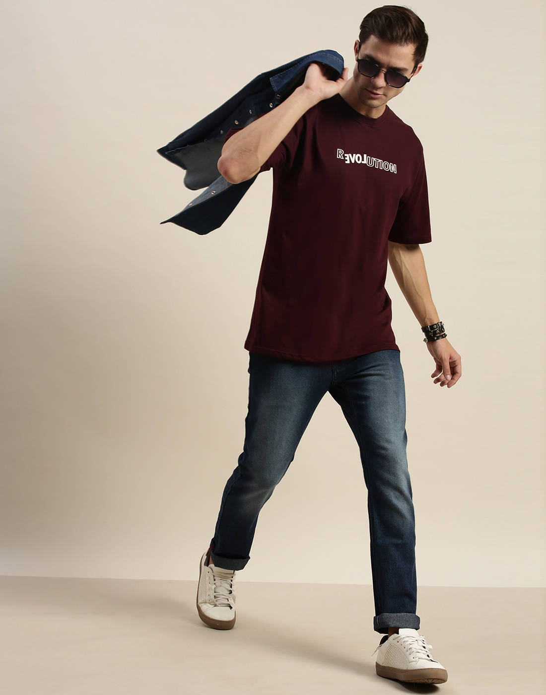 Difference of Opinion | Difference of Opinion Maroon Graphic Oversized T-Shirt