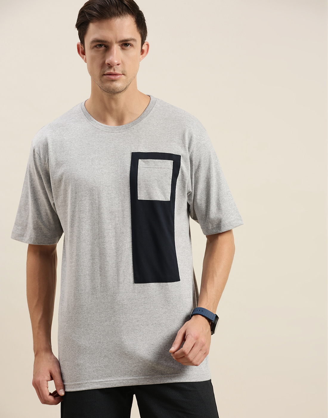 Difference of Opinion   Difference of Opinion Grey Colour-block Oversized T-Shirt