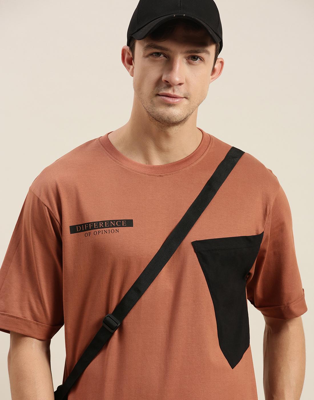 Difference of Opinion | Difference of Opinion Brown Colour-block Oversized T-Shirt