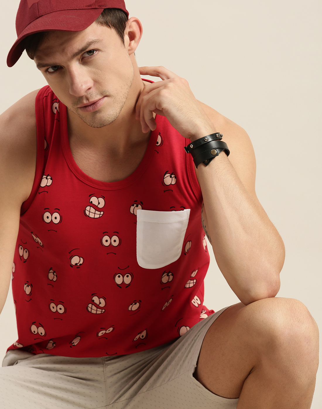 Difference of Opinion   Difference of Opinion Red Graphic Tank Top