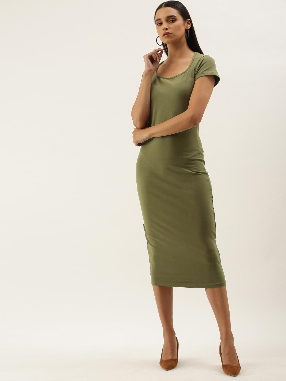 Dillinger | Dillinger Olive Solid Bodycon Dress