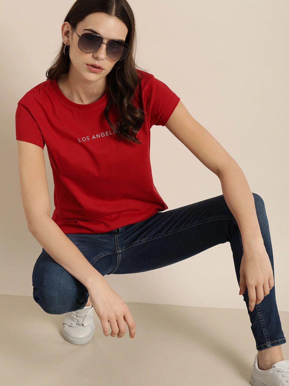 Dillinger | Dillinger Women's Typographic Red T-Shirt