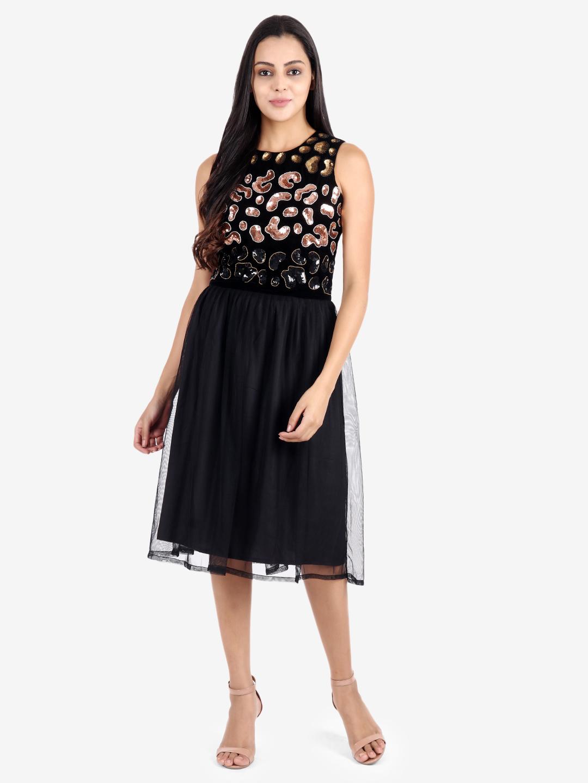 DIWAAH | Diwaah Black Color Embellished Fit and Flare Dress