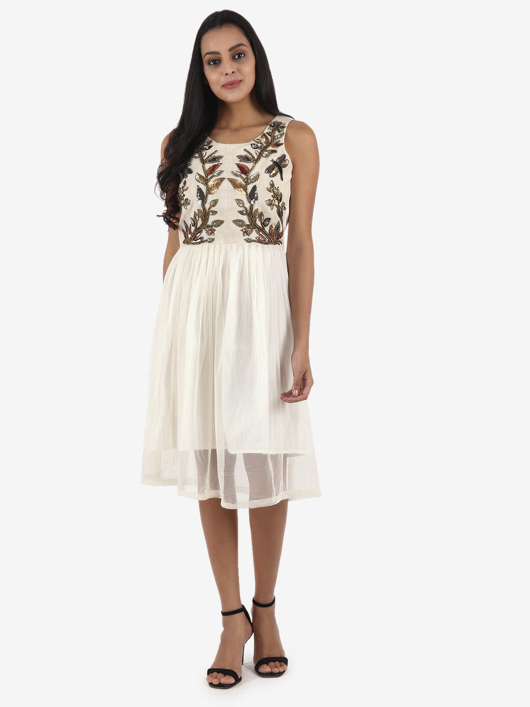 DIWAAH | Diwaah Off White Color Embellished Fit and Flare Dress