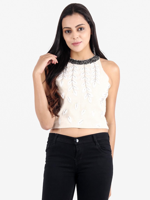 DIWAAH | Diwaah Off White Color Embellished Top