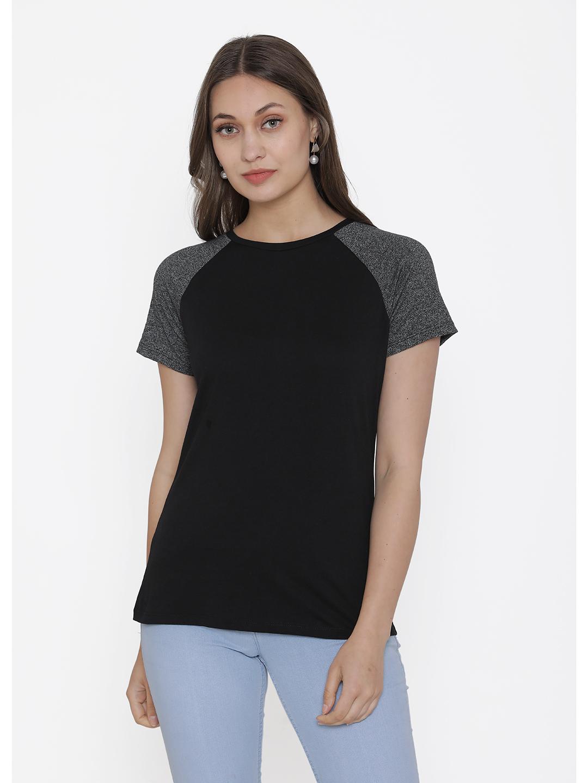 DOOR74 | Door74 Black Solid Round Neck T-Shirt