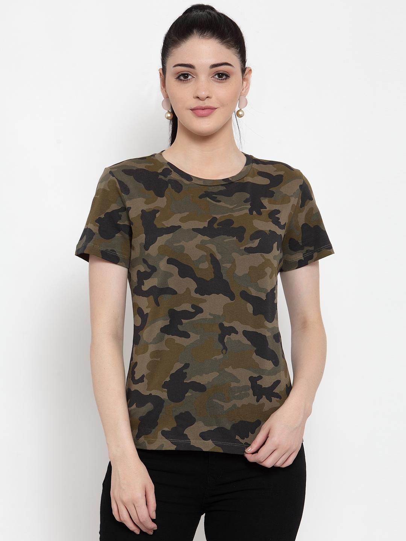 DOOR74 | Door74 Womens Camouflage All Over Printed Short Sleeves T-Shirt