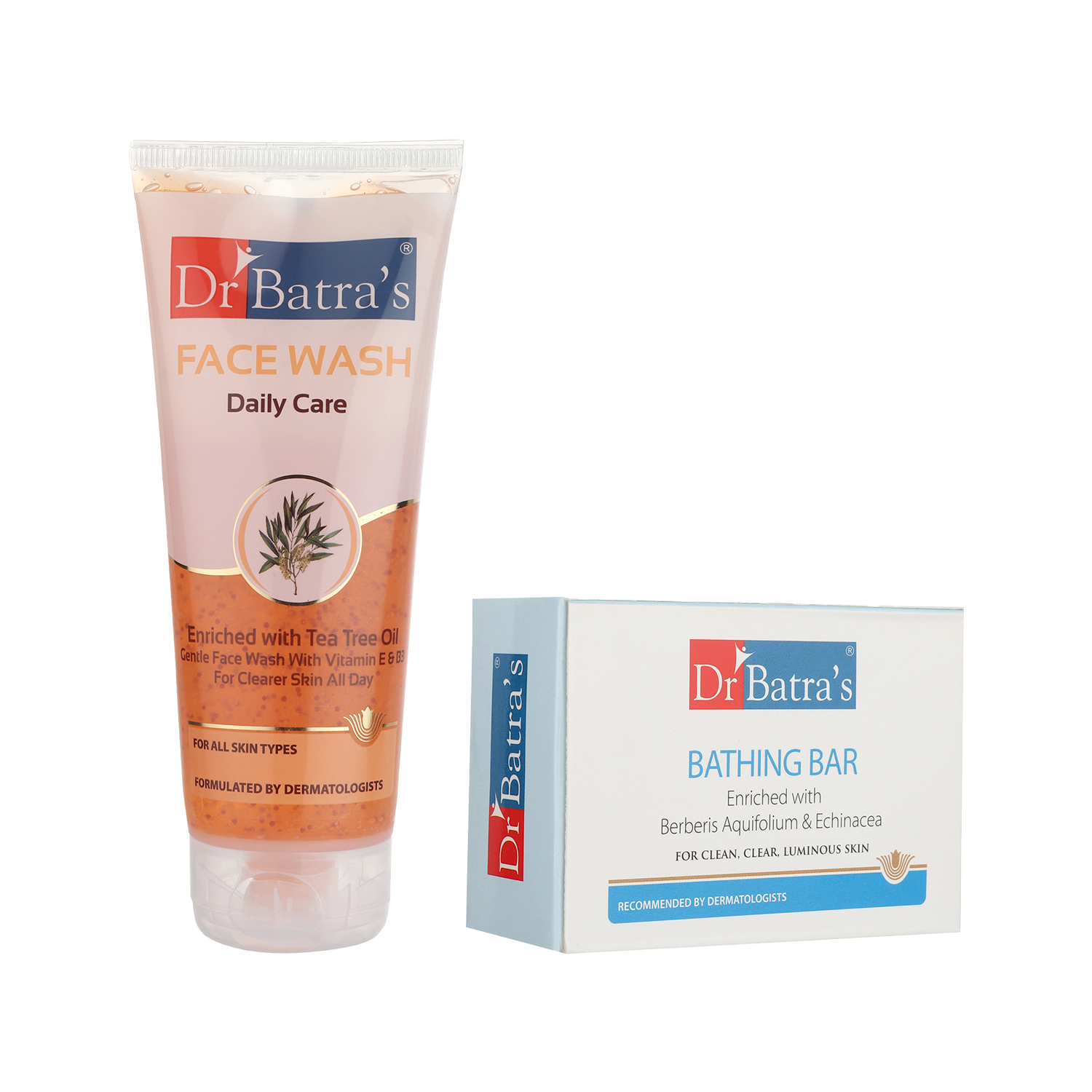 Dr Batra's | Dr Batra's Daily Care Face Wash 200 gm and Bathing Bar - 125 gm (Pack of 2 for Men and Women)
