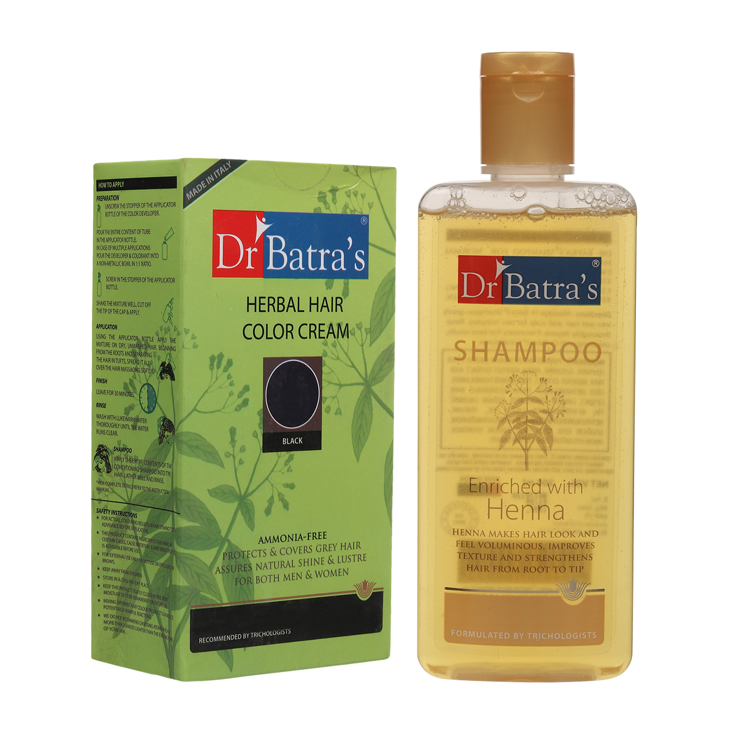 Dr Batra's | Dr Batra's Herbal Hair Color Cream 130 G and Normal Shampoo 200 ml (Pack of 2 Men and Women)