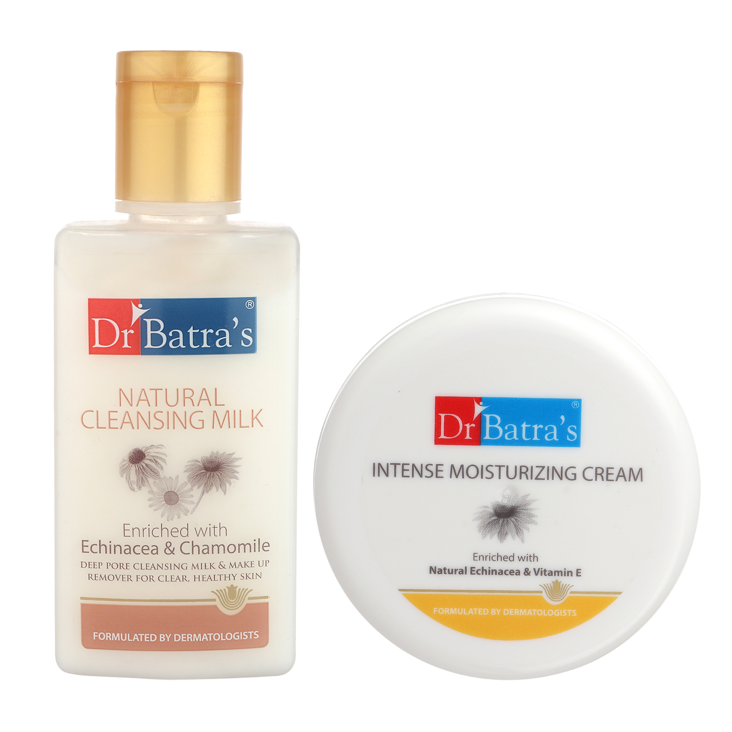 Dr Batra's | Dr Batra's Natural Cleansing Milk - 100 ml and Intense Moisturizing Cream -100 g (Pack of 2 Men and Women)