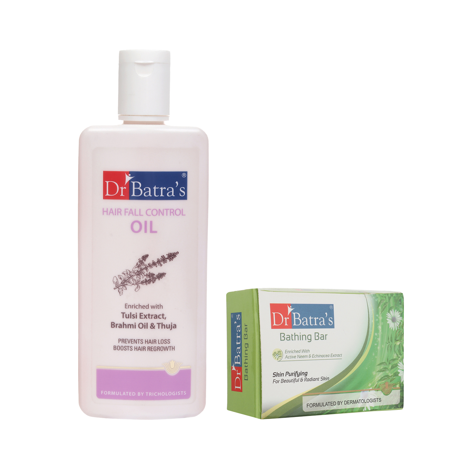 Dr Batra's | Dr Batra's Hair Fall Control Oil- 200ml and Skin Purifying Bathing Bar - 125 gm (Pack of 2 for Men and Women)