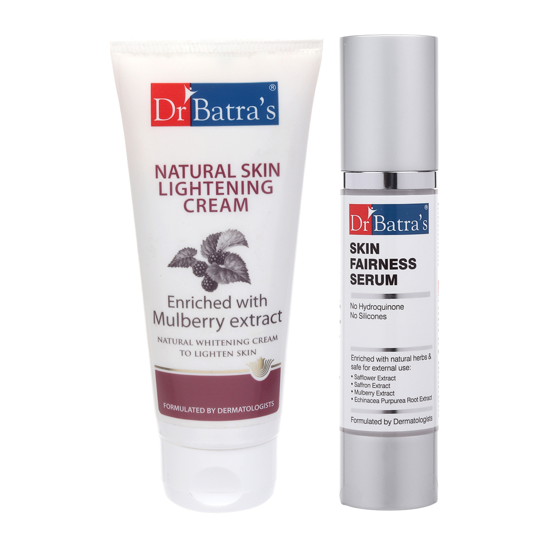 Dr Batra's | Dr Batra's Natural Skin Lightening Cream 100G and Skin Fairness Serum 50 G (Pack of 2 Men and Women)