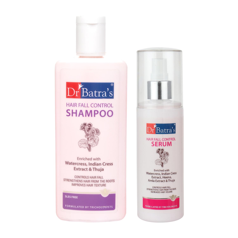 Dr Batra's | Dr Batra's Hair Fall Control Shampoo 200ml and Hair Fall Control Serum 125 ml (Pack of 2 Men and Women)