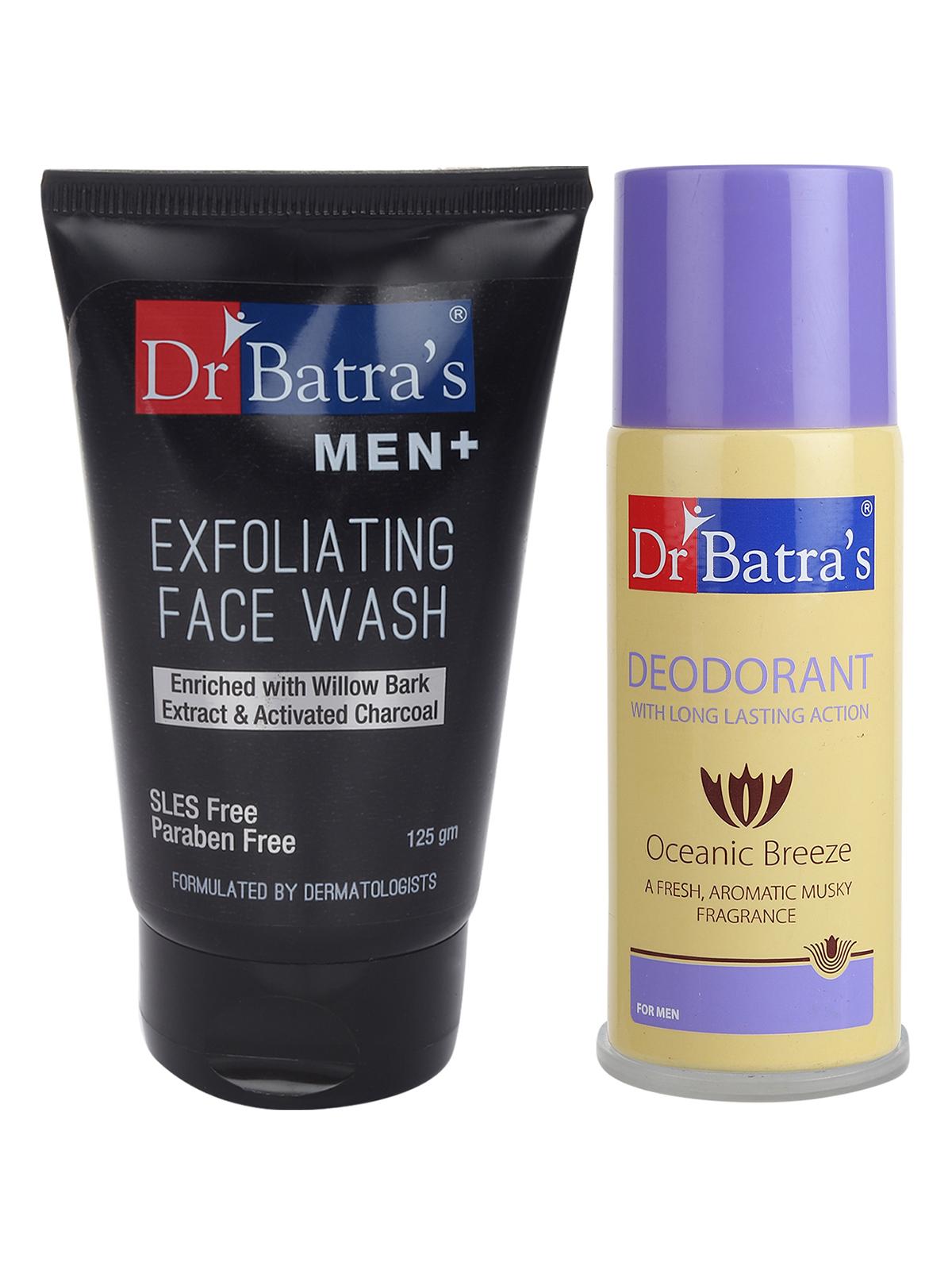 Dr Batra's | Dr Batra's Men Exfoliating Face Wash - 125 g and Deo For Men 100 Gm (Pack of 2 for Men)