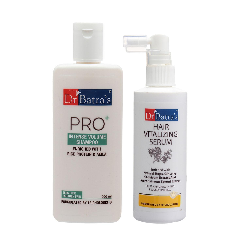 Dr Batra's | Dr Batra's Hair Vitalizing Serum 125ml and Pro+ Intense Volume Shampoo - 200 ml (Pack of 2 Mena and Women)