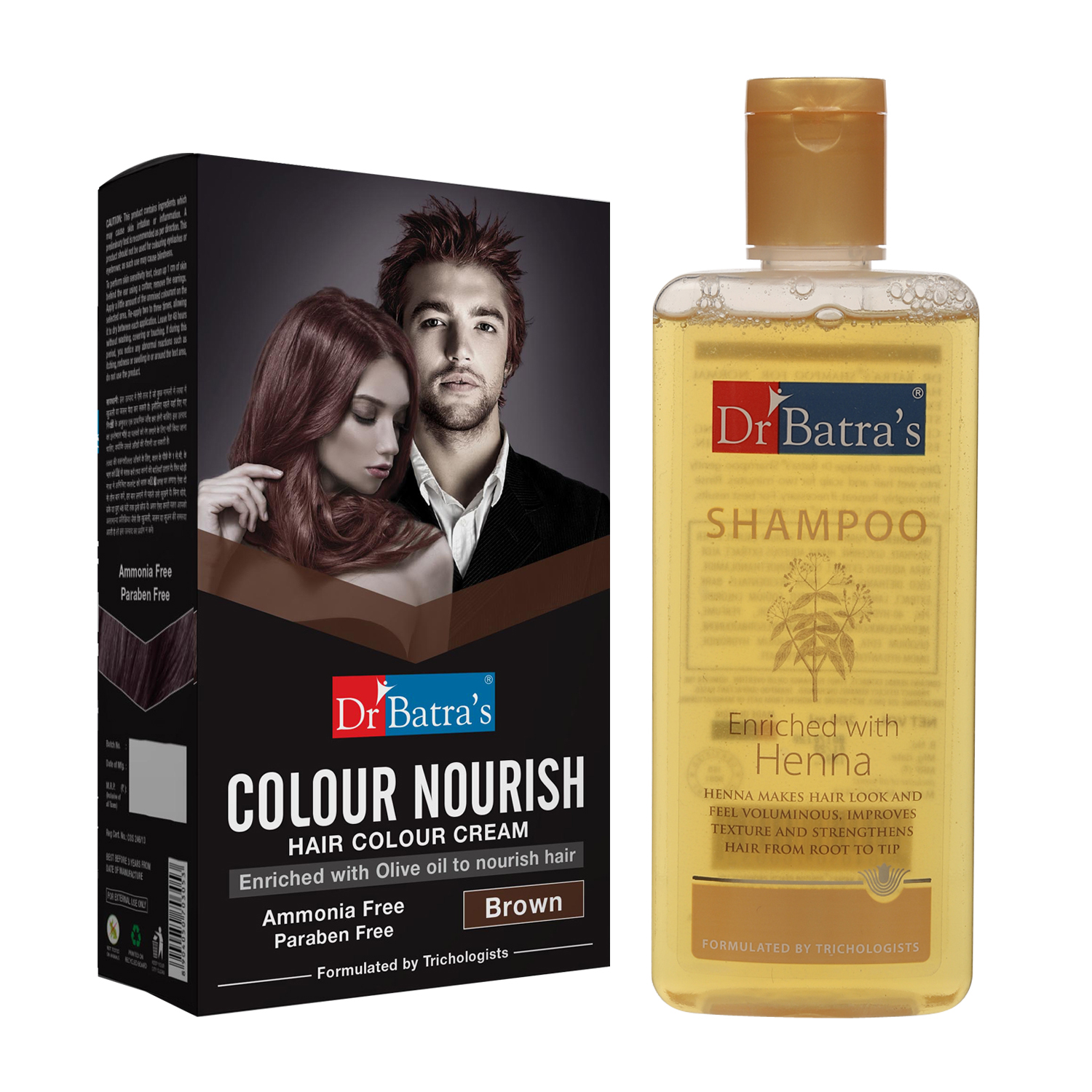 Dr Batra's   Dr Batra's Colour Nourish Hair Colour Cream - Brown 120 G and Normal Shampoo 200ml (Pack of 2 Men and Women)