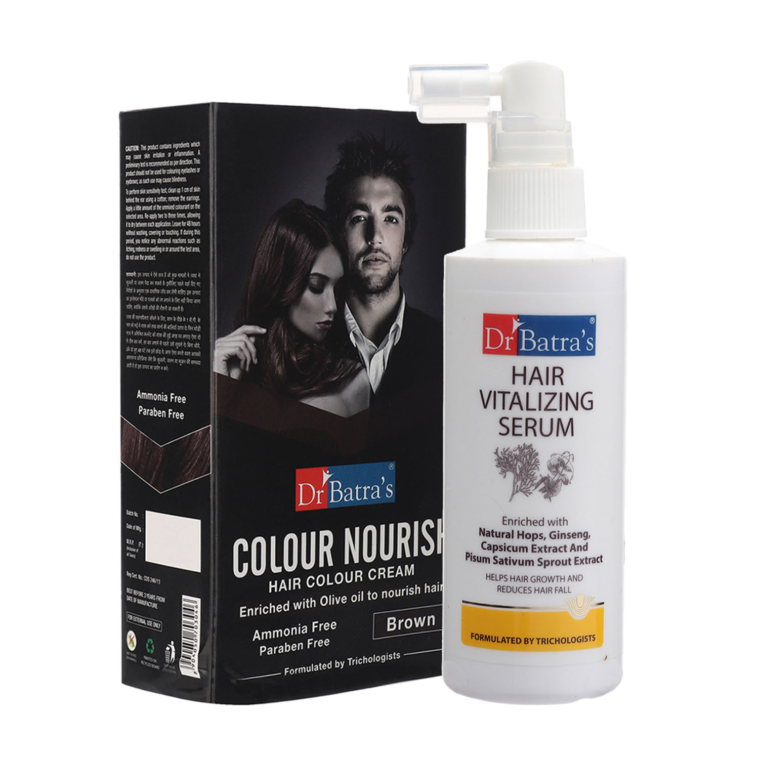 Dr Batra's | Dr Batra's Hair Vitalizing Serum 125ml and Dr Batra's Colour Nourish Hair Colour Cream - Brown (Pack of 2 for Men and Women)