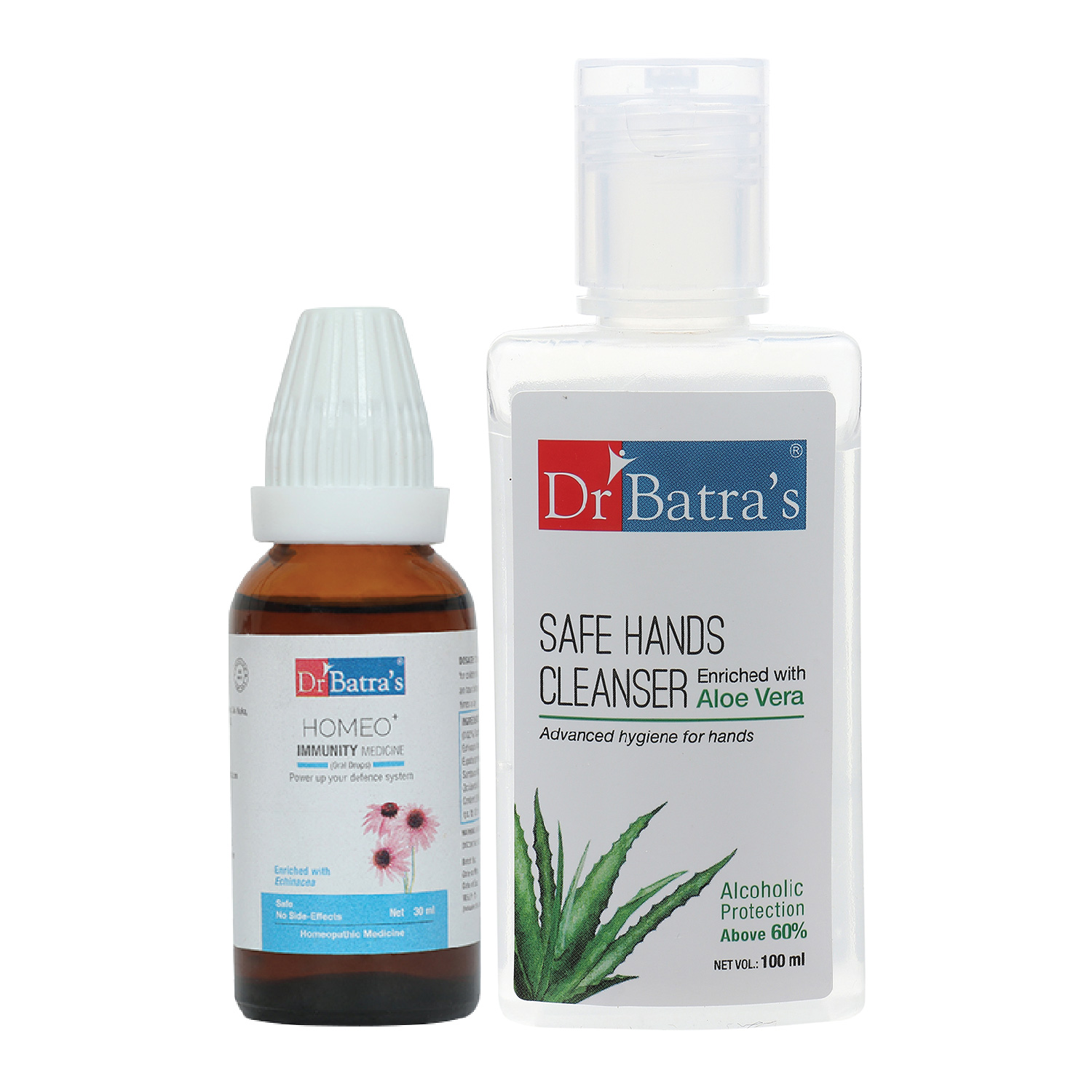 Dr Batra's   Dr Batra's Homeo+ Immunity Medicine Oral Drops Scientific & Natural  Stay Home, Stay Safe - 30 ml and Safe Hands Cleanser  Aloe vera - 100 ml