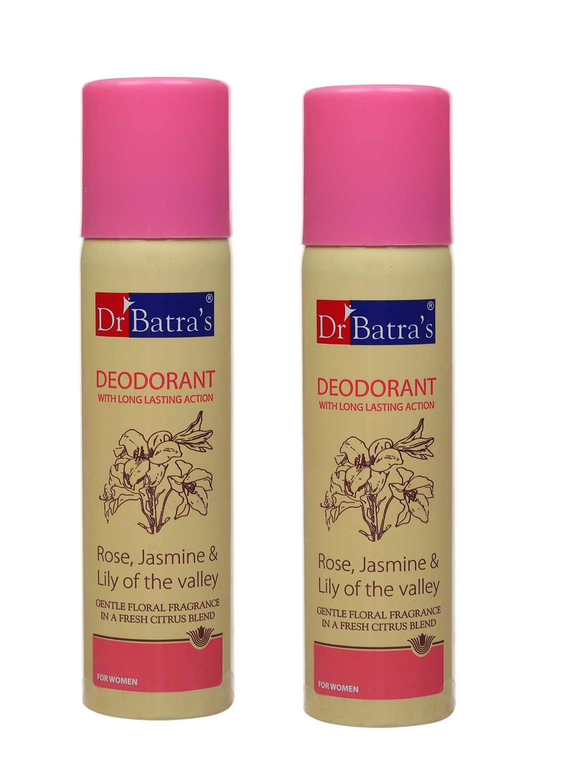 Dr Batra's | Dr Batra's Deodarant With Long Lasting Action Rose, Jasmine & Lily Of The Valley - 100 gm (Pack of 2)