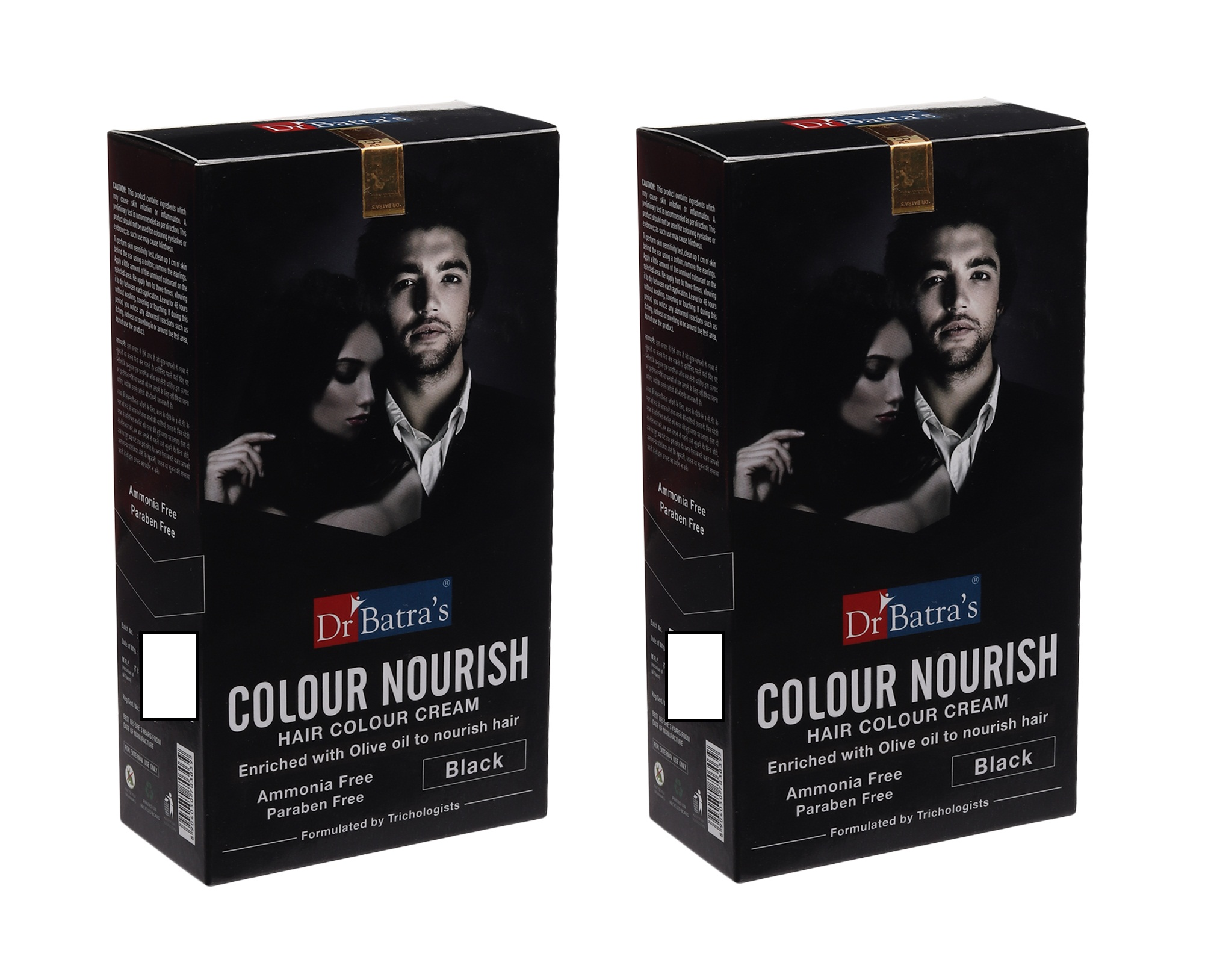 Dr Batra's | Dr Batra's Colour Nourish Hair Ammonia, Paraben Free Colour Cream Enriched With Olive Oil to Nourish Hair Black - 120 gm (Pack of 2)